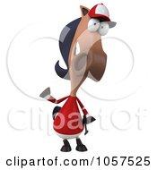 Royalty Free CGI Clip Art Illustration Of A 3d Polo Horse Facing Waving