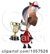 Royalty Free CGI Clip Art Illustration Of A 3d Polo Horse Holding A Trophy 3