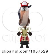 Royalty Free CGI Clip Art Illustration Of A 3d Polo Horse Holding A Trophy 1