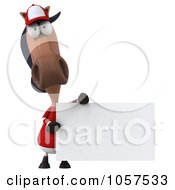 Royalty Free CGI Clip Art Illustration Of A 3d Polo Horse With A Sign 4