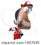 Royalty Free CGI Clip Art Illustration Of A 3d Polo Horse Facing Waving His Hoof