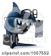 Royalty Free CGI Clip Art Illustration Of A 3d Blue Shark Business Man Holding A Contract