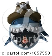 Royalty Free CGI Clip Art Illustration Of A 3d Pirate Shark Chasing A Fat Fish 4