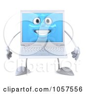 Royalty Free CGI Clip Art Illustration Of A 3d White Laptop Character by Julos