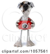 Royalty Free CGI Clip Art Illustration Of A 3d Jack Russell Terrier Pooch Taking Pictures 1