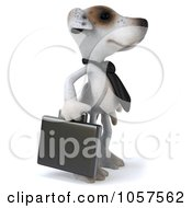 Royalty Free CGI Clip Art Illustration Of A 3d Jack Russell Terrier Pooch Businessman