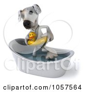 Royalty Free CGI Clip Art Illustration Of A 3d Jack Russell Terrier Pooch In A Tub 1