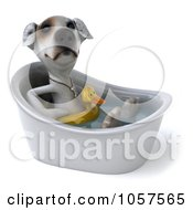 Royalty Free CGI Clip Art Illustration Of A 3d Jack Russell Terrier Pooch In A Tub 2