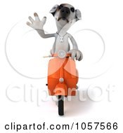 Royalty Free CGI Clip Art Illustration Of A 3d Jack Russell Terrier On A Scooter