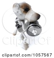 Royalty Free CGI Clip Art Illustration Of A 3d Jack Russell Terrier Pooch Doing Bicep Curls