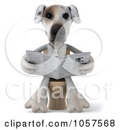 Royalty Free CGI Clip Art Illustration Of A 3d Jack Russell Terrier Pooch Reading The News On A Toilet