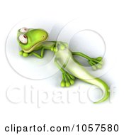 Royalty Free CGI Clip Art Illustration Of A 3d Gecko Character Resting On His Back