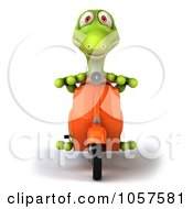Royalty Free CGI Clip Art Illustration Of A 3d Gecko Character On A Scooter