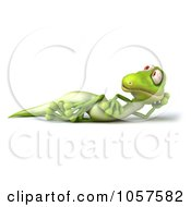 Royalty Free CGI Clip Art Illustration Of A 3d Gecko Character Reclining