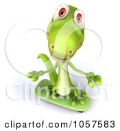 Royalty Free CGI Clip Art Illustration Of A 3d Gecko Character Skater