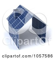 Royalty Free CGI Clip Art Illustration Of A 3d House Made Of Solar Panels 1 by Julos