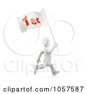 Royalty Free CGI Clip Art Illustration Of A 3d White Person Running With A First Flag