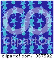 Royalty Free CGI Clip Art Illustration Of A Background Pattern Of Starfish On Blue