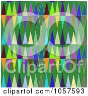 Royalty Free CGI Clip Art Illustration Of A Background Of Colorful Triangles On Green