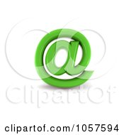 Royalty Free CGI Clip Art Illustration Of A 3d Green Arobase Symbol by chrisroll