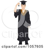 Royalty Free Vector Clip Art Illustration Of A Graduate Man Grabbing His Tassel by BNP Design Studio