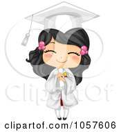 Royalty Free Vector Clip Art Illustration Of A Cute Graduate Girl Holding Her Diploma And Smiling