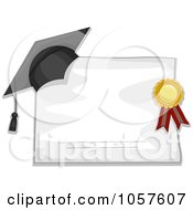 Royalty Free Vector Clip Art Illustration Of A Graduation Cap And Ribbon On A Blank Diploma