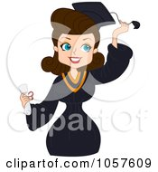 Royalty Free Vector Clip Art Illustration Of A Brunette Graduate Pinup Woman Grabbing Her Tassel