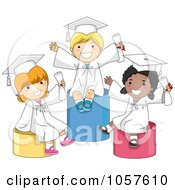 Royalty Free Vector Clip Art Illustration Of Happy Graduate Kids Sitting On Pillars