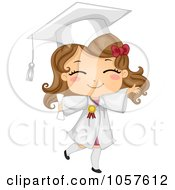 Royalty Free Vector Clip Art Illustration Of A Cute Graduate Girl Walking