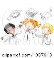 Royalty Free Vector Clip Art Illustration Of Graduate Kids Tossing Their Caps
