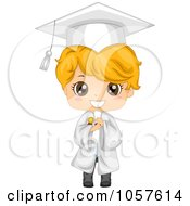 Cute Graduate Boy Holding His Diploma And Smiling