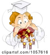 Royalty Free Vector Clip Art Illustration Of A Graduate Boy Wearing A Lot Of Medals