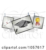 Royalty Free Vector Clip Art Illustration Of Developing Pictures Of A Diploma Graduation Cap And Ribbon On A Line
