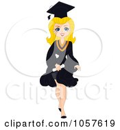 Royalty Free Vector Clip Art Illustration Of A Blond Graduation Pinup Woman Walking