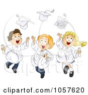 Royalty Free Vector Clip Art Illustration Of Three Graduate Kids Tossing Their Caps