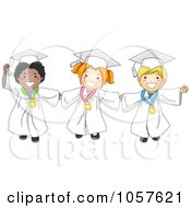 Royalty Free Vector Clip Art Illustration Of Graduate Kids Holding Hands And Wearing Medals