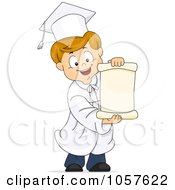Royalty Free Vector Clip Art Illustration Of A Graduate Boy Holding A Scroll
