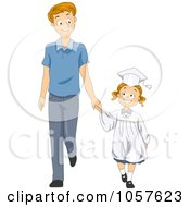 Royalty Free Vector Clip Art Illustration Of A Little Graduate Girl Holding Hands With Her Dad
