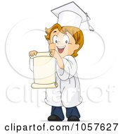 Royalty Free Vector Clip Art Illustration Of A Graduate Boy Facing Left And Holding A Scroll