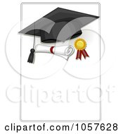 Royalty Free Vector Clip Art Illustration Of A Graduation Cap Ribbon And Diploma On A Sign