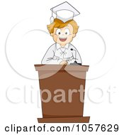Royalty Free Vector Clip Art Illustration Of A Graduate Boy Giving A Valedictorian Speech