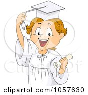 Royalty Free Vector Clip Art Illustration Of A Graduate Boy Holding A Diploma And Grabing His Tassel