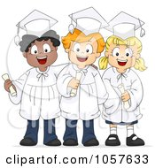 Royalty Free Vector Clip Art Illustration Of Three Graduate Kids Holding Their Diplomas