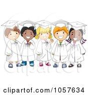 Royalty Free Vector Clip Art Illustration Of Happy Diverse Graduate Kids