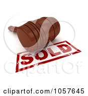Royalty Free CGI Clip Art Illustration Of A 3d Gavel On A Sold Stamp 3