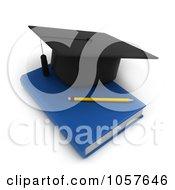 Royalty Free CGI Clip Art Illustration Of A 3d Graduation Cap And A Pencil On A Book