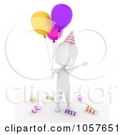 Royalty Free CGI Clip Art Illustration Of A 3d Ivory Man Celebrating A Birthday