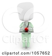 Royalty Free CGI Clip Art Illustration Of A 3d Ivory Surgeon Holding An Apple On A Tray