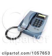 Royalty Free CGI Clip Art Illustration Of A 3d Blue Desk Phone